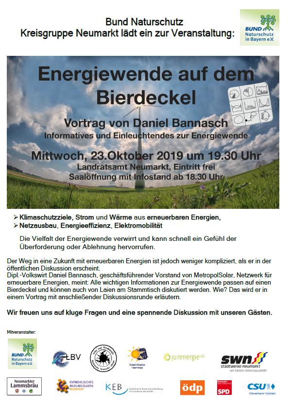 Energiewende auf dem Bierdeckel 23.10.19 Neumarkt