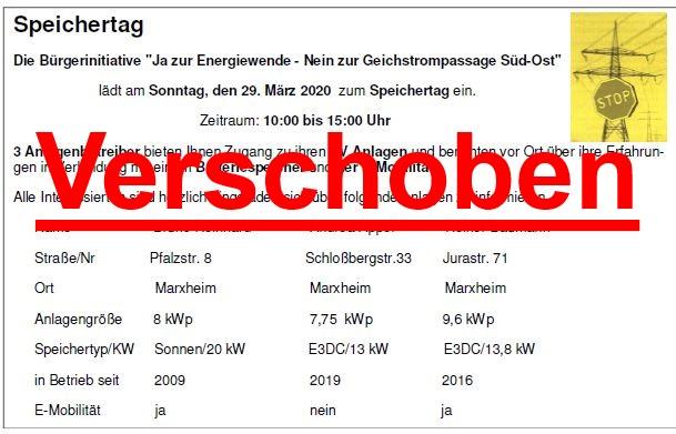 VERSCHOBEN: Solarspeicher-Tag in Marxheim